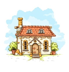 Entrance in old fairy-tale vector image