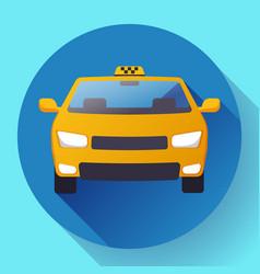 flat taxi car icon flat design vector image