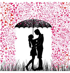 Kissing couple heart rain vector image