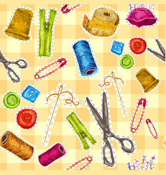 Sewing sketch seamless pattern vector image vector image