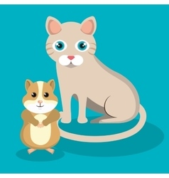 cute cat with hamster mascot icon vector image