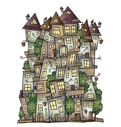 fantasy fairy-tale drawing town vector image vector image