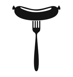 sausage on fork icon simple style vector image vector image