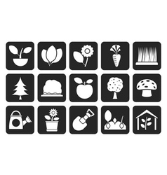 Silhouette Different Plants and gardening Icons vector image vector image