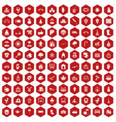 100 kindergarten icons hexagon red vector image vector image