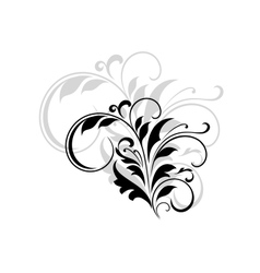 Abstract black floral design element vector image