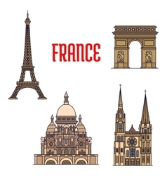 Architectural travel landmarks of France icon vector image