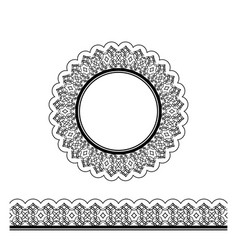 black decorative border and circle frame vector image vector image