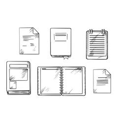 Book notebook notepad and diary sketches vector image