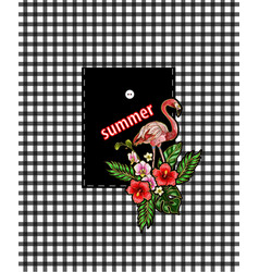 design of pocket with embroidery flamingos vector image vector image