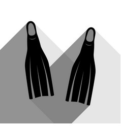 diving flippers sign black icon with two vector image