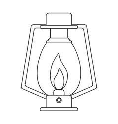 outline lamp kerosene old lantern camping vector image