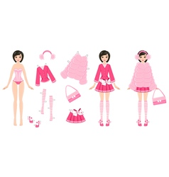 Paper Doll with Clothes in Pink vector image vector image