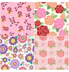 seamless decorative flower pattern vector image
