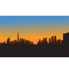 silhouette of dubai city vector image