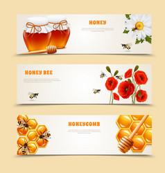three honey banner set vector image vector image