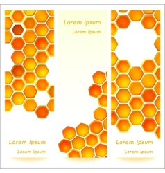 Vertical banners with honeycomb cells background vector image