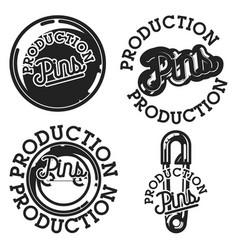 Vintage pins production emblems vector