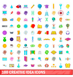 100 creative idea icons set cartoon style vector