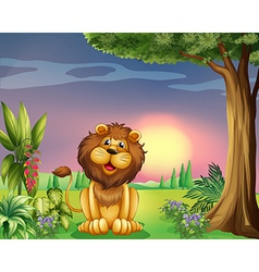 a happy face of lion vector image