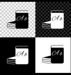 Abc book icon isolated on black white and vector