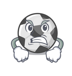 angry soccer ball in a cartoon basket vector image