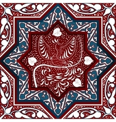 Arabic Seamless Pattern with bird Phoenix vector image