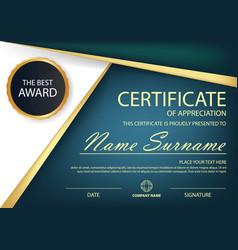 blue elegance horizontal certificate vector image