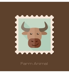 Bull flat stamp Animal head vector