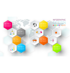 business hexagon net labels shape infographic bar vector image