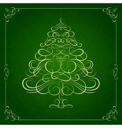 Calligraphy Christmas tree on green background vector