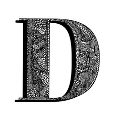 Capital letter d hand drawn letter english vector