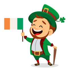 cartoon funny leprechaun with irish flag and cane vector image