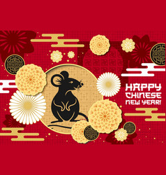 chinese new year papercut rat and flowers pattern vector image