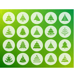 christmas tree shape carved flat icons set vector image