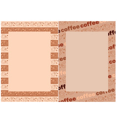 Coffee beans and cups in beige frames for menu vector