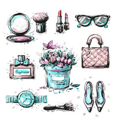 Collection set of sketchy fashion stylish elements vector