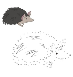 Connect the dots game hedgehog vector image