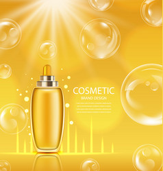 Cosmetic product in orange glossy bottle vector
