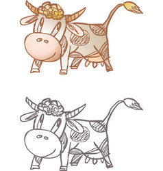 Cow and calf vector