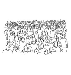 crowd of people standing sketch vector image
