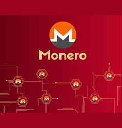 Cryptocurrency monero on red background collection vector