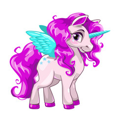 Cute unicorn princess icon vector