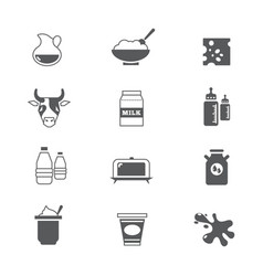 Diary products milk icons set vector