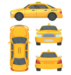 Different views taxi yellow car automobile vector