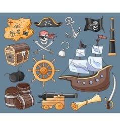 doodle set pirates vector image