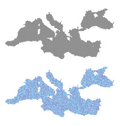 Dotted mediterranean sea map abstractions vector