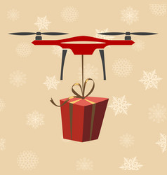 Drone with gift modern delivery of gifts for vector