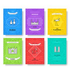 dubai brochure cards thin line set country vector image