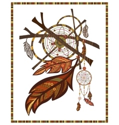 Elements ethnic style Dreamcatcher twigs vector image